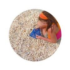 "Sifting Through a Mound of Seashells 3.5"" Button"