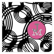 Stylish Weave Pattern Monogram 5.25 x 5.25 Flat Ca