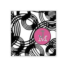 "Stylish Weave Pattern Monogram Square Sticker 3"" x"