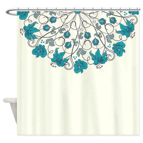 Blue Floral Shower Curtain By Bestshowercurtains