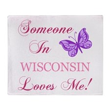 Wisconsin State (Butterfly) Throw Blanket