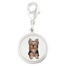 Yorkshire Terrier Puppy Silver Round Charm