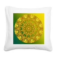 Yellow Green Wheel of Fire Square Canvas Pillow