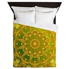 Yellow Green Wheel of Fire Queen Duvet