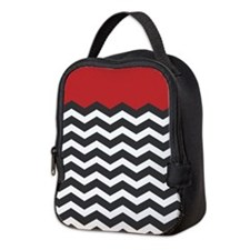 Red Black and white Chevron Neoprene Lunch Bag