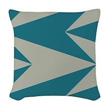 Teal Arrowhead Pattern Woven Throw Pillow