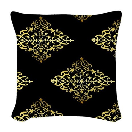 Decorative Gold and Black Woven Throw Pillow by GraphicAllusions