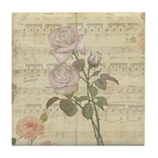 Vintage Romantic pink rose and music score Tile Co