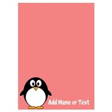 Cute Penguin Text Coral Invitations