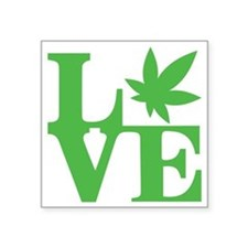 "WeedLove (Kelly Green) Square Sticker 3"" x 3"""