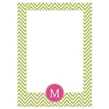 Green Pink Chevron Pattern Invitations