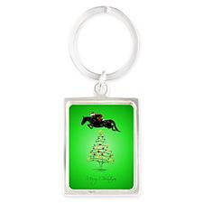 Horse Jumping Christmas Portrait Keychain