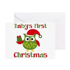 Baby's First Christmas Owl 2 Greeting Cards (Pk of