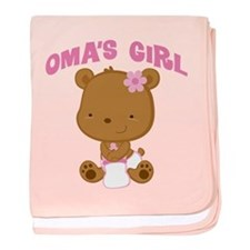 Oma's Girl Teddy Bear baby blanket