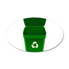 Green Recycling Trash Can Wall Decal