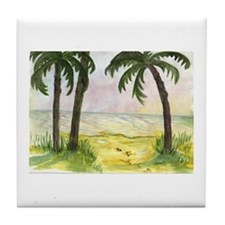 Beach and Palm Trees Tile Coaster