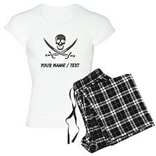 Custom Black Linen Calico Jack Skull Pajamas