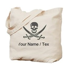 Custom Black Linen Calico Jack Skull Tote Bag