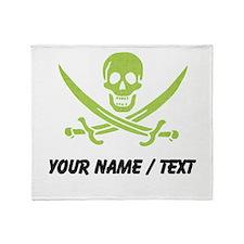 Custom Green Linen Calico Jack Skull Throw Blanket