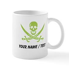 Custom Green Linen Calico Jack Skull Mugs
