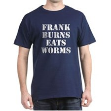 Frank Burns Eats Worms Navy Blue T-Shirt