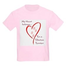 Tibetan Terrier Heart Belongs Kids T-Shirt
