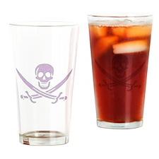 Purple Linen Calico Jack Skull Drinking Glass