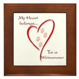 Weimaraner Heart Belongs Framed Tile