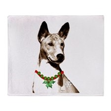 Basenji Holiday by madeline wilson Throw Blanket