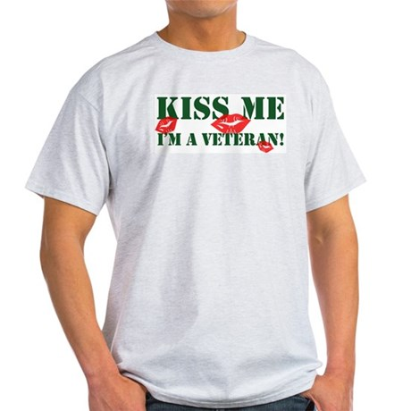 Kiss Me I'm A Veteran Ash Grey T-Shirt