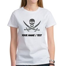 Custom Black Diagonal Stripes Calico Jack Skull T-