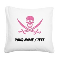 Custom Pink Crosshatch Calico Jack Skull Square Ca