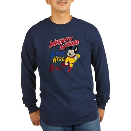 Mighty Mouse Best Hero Long Sleeve Dark T-Shirt