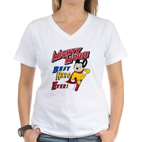 Mighty Mouse Best Hero Women's V-Neck T-Shirt
