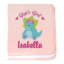 Personalized Gigis Girl Dino baby blanket