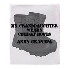 Army Grandpa Granddaughter Combat Boots Throw Blan