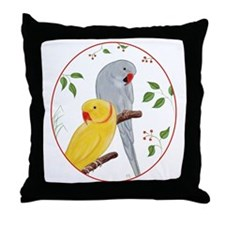 Indian Ringnecks Throw Pillow