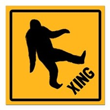 "Bigfoot Crossing Square Car Magnet 3"" x 3"""