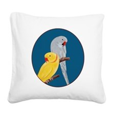 Indian Ringnecks Square Canvas Pillow