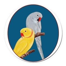 Indian Ringnecks Round Car Magnet