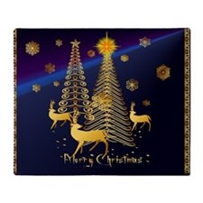 Gold Christmas Trees and Reindeer Throw Blanket