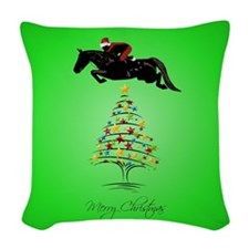 Grand_Prix_Jumper_Christmas_Sq Woven Throw Pillow