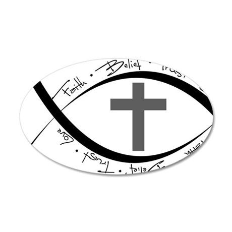 jesus fish.png 20x12 Oval Wall Decal