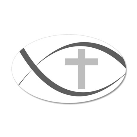 jesus fish_reverse.png 20x12 Oval Wall Decal