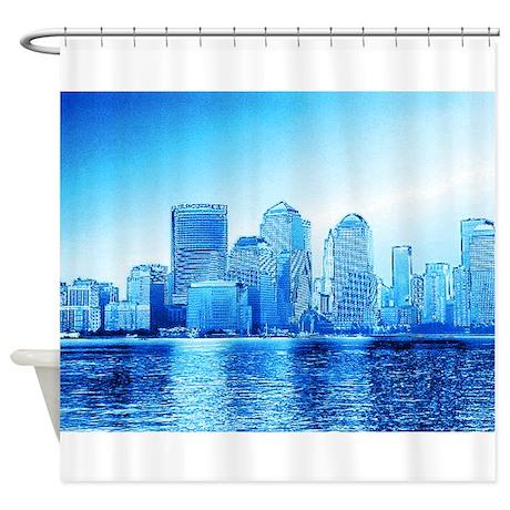 New York Skyline Iceblue Shower Curtain By Mehrfarbeimleben