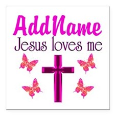 "JESUS LOVES ME Square Car Magnet 3"" x 3"""