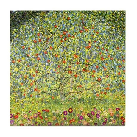 Gustav Klimt Art Tile Coaster Apple Tree