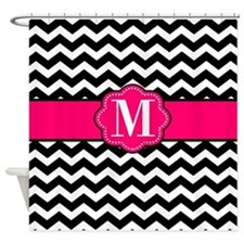 Pink Black Chevron Monogram Shower Curtain