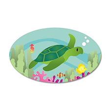 35X21 Mermaid Sea Turtle Scene Oval Wall Decal