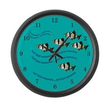 Just Keep Swimming Blue Fish Clock Large Wall Cloc